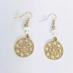 New! Boho Gold Hoop Filigree Faux Pearl Earrings